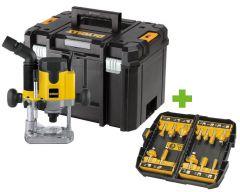 DW621KT Oberfräse 1100 Watt im Koffer + DT90016 Fräserset 12 tlg.