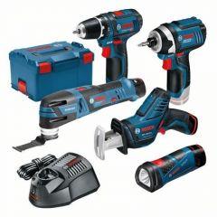 5 Tool Kit - GSR12V-15 + GOP12V-LI + GLI Powerled + GDR12V-105 + GSA12V-14 12Volt 3 x 2,0Ah in L-Boxx