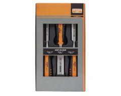 Stechbeitelsatz mit gummiertem Griff – dreiteilig/Kartonverpackung 424P-S3-EUR